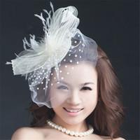 pajarera blanca vintage al por mayor-Vintage Wedding Bridal Hat White Pillbox Church Birdcage Veil Cocktail Hair Fascinator Accesorios Clips Tocado Proveedor de joyas