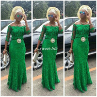 Wholesale Emerald Green Sashes - Lace Arabic Emerald Green Prom Dresses Long Sleeve 2016 African Fashion Off Shoulder Mermaid Beaded Nigerian Styles Bellanaija Evening Gowns