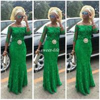vestidos de bellanaija venda por atacado-Lace Árabe Verde Esmeralda Vestidos de Baile Manga Longa 2020 Moda Africano Fora Do Ombro Sereia Frisada Nigeriano Estilos Bellanaija Vestidos de Noite