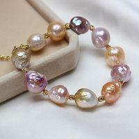 ingrosso braccialetti di perle d'acqua dolce barocca-Braccialetto di fascino Braccialetto di perle Braccialetto di perle d'argento sterling 925 Bracciale di perle naturali per le donne