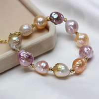 Wholesale Baroque Pearls Bracelets - Charm Bracelet Pearl Jewelry 925 Sterling Silver Baroque Pearl Bracelet Natural Freshwater Pearl Bracelet For Women