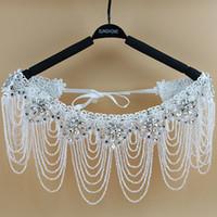 Wholesale Tulle Wedding Dress Jewelry - 2016 Luxurious Crystal Rhinestone Jewelry Bridal Wraps White Lace Wedding Shawl Jacket Bolero Jacket Wedding Dress With Beaded Bridal Wrap