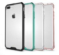cadres élégants achat en gros de-Pour iPhone 7 Plus 6 Plus 5SE 4S Transparent Clear Acrylique TPU Smart Phone Case Hybrid Tough Stylish Color Frame