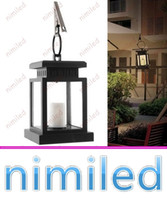 Wholesale Solar Hanging Lights Garden Wholesale - nimi1045 Vintage Solar Powered Lamp Waterproof Hanging Lantern Candle Lights LED With Clamp Beach Umbrella Tree Garden Yard Lawn Lighting