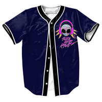 Wholesale Baseball Jersey Style Shirts - Wholesale-Alien Rave Jersey with Single Breasted Hip Hop Men's shirts Streetwear baseball shirt sport tops Tees Summer Style Casual