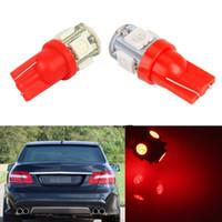 ingrosso 158 lampadina rossa-50Pcs Super Red T10 Wedge 5-SMD 5050 CAR LED Lampadine W5W 2825 158 192 168 194