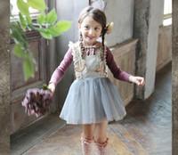 kızlar dantel kore parti elbisesi toptan satış-Çocuklar Kızlar Tül Dantel Yay Parti Elbiseler Bebek Kız TuTu Prenses Elbise Bebekler Kore Tarzı Askı Elbise Çocuk giyim Yüksek kalite