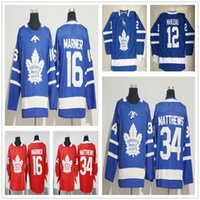 Wholesale Ad Red - 2017 2018 New Style AD Brand Toronto Maple Leafs Hockey Jerseys 16 Mitchell Marner 12 Patrick Marleau 34 Auston Matthews Blue Red Jersey
