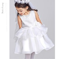 Wholesale Pure White Flower Girl Dresses - Flower girl dress classic wedding girl dress high quality customized pure white Pageant Dresses first holy communion dress