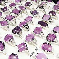 amethyst steinringe großhandel-Arbeiten Sie natürliches Amethyst Steinsilber überzogene Ringe für Frauen um Art und Weiseanzeigetafel, die vollständigen Schmuck Großhandelsring-Lose LR022 einstellt Freies Verschiffen