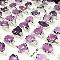 Wholesale amethyst stone jewelry sets resale online - Fashion Natural Amethyst Stone Silver Plated Rings For Women Fashion Bezel Setting Whole Jewelry Bulk Ring LR022