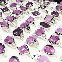 anillos de piedra amatista al por mayor-Moda amatista natural piedra plateada plata anillos para mujer bisel de la manera que fija la joyería entera anillo a granel Lotes LR022 envío gratis
