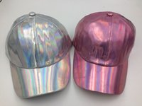Wholesale Laser Cap Wholesale - Laser Silver PU Leather Magic Rainbow Baseball Cap Hiphop Snapback Hat Adjustable Pink 10pcs lot Free shipping