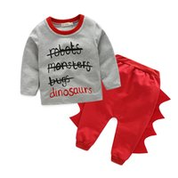 Wholesale Boys Clothing Sets Dinosaur - 2016 NEW Spring Autumn Baby Dinosaur outfits sets long sleeves T-shirt+Pants Boys Girls Two-piece Outfits Set Casual Holloween Clothes 1-3T