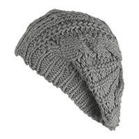 Wholesale New Women Baggy Beret Chunky Knit Knitted Braided Beanie Hat Ski Cap
