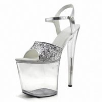 Wholesale Gorgeous Silver Shoes - Gorgeous gold silver glitter high heels 8 inch white flowers wedding shoes clear platform Crystal shoes 20cm party dress sandals