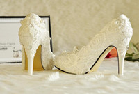 Wholesale Cheap Plastic Pump - Wholesale Free Shipping Wedding Shoes Cheap White Red Lace Pearls High Heels With Platform Bridal Elegant Brand New Top Quality Heels SH290