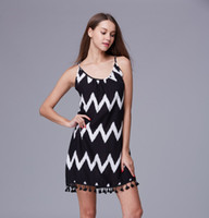 2016 Rushed Direct Selling Casual Dresses Black M S Лето в Европе и Америке Loose Wavy Fringed Beach Dress Halter Strap Female Tide