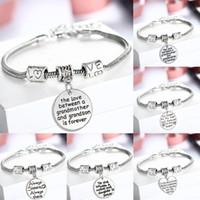 ingrosso regali di natale per le mamme-Braccialetto Pandora all'ingrosso AMORE Cuore regalo perfetto per i membri della famiglia per i compleanni di Natale SISTER MOM Clear Charm Bracelet