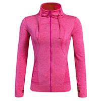 sıkıştırma giymek kadınlar toptan satış-Kadınlar Kapşonlu spor Spor Yoga Koşu Ceketler Spor Giyim Uzun Kollu Kapşonlu Coat Sıkıştırma Eğitim Giyim için Spor uzun S