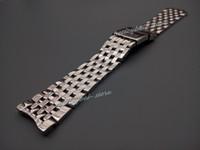 pulsera de acero inoxidable de 24mm. al por mayor-24mm Nueva plata pulida correa de reloj de pulsera de banda de reloj de acero inoxidable pulido inoxidable