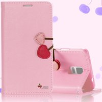 милый подставка для карточек оптовых-Wholesale-For Note 4/3 Cute Cherry Serie Wallet Leather Case For  Galaxy Note 3/4  Phone Cover Flip Stand With Card Slot Girl