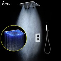 Wholesale Thermostat Product - Top Shower Products Ceiling Mounted Modern Shower Heads Set LED lights RGB Color Changing Rainfall Faucets Spa Thermostatic Mixer Bath