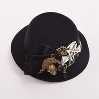 1pc donne dell'annata Steampunk Gears nero Mini Top Hat Goth Croce clip di capelli Victorain Cosplay