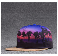 Wholesale Heat Transfer Images - Unisex Fashion 3D Heat Transfer Printing Coconut Palm Sunset Image Baseball Hat Hiphop Hat Holiday Hat