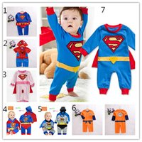 Wholesale Baby Red Cape - Toddlers 7styles long sleeve super hero rompers Infants removable cape sipderman super girl rompers Baby girls boys cloak jumpsuit