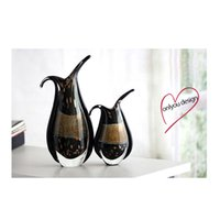 Carved black glass vases - Black Creative Glass Vase Top Table Ornaments Handmade Murano Glass Vase High Quality Decorative Arts from China