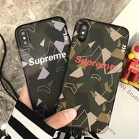 Wholesale Camouflage Lanyards - Scrub English alphabet camouflage mobile phone case with lanyard for iphone X 6 6s 6plus TPU + PC hard back cover for iphone 7 7plus 8plus
