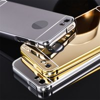 Wholesale Galaxy S4 Gold Pink - Luxury Metal Mirror Aluminium Bumper Acrylic Case For iPhone 5S SE 6 Plus for Samsung Galaxy S4 S5 S6 S7 edge Note 4 5 LG G3 G4 V10