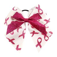 Barato Arcos De Cabelo De Câncer Por Atacado-Atacado 7 polegadas Grandes Glitter Cheer Bows Headmade Handmade Cancer Awareness Headwear com Ponytail Hair Holders para Cheerleading Girls