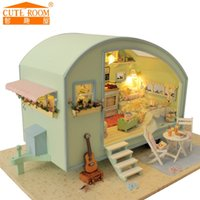 Wholesale Doll Furniture Craft - Wholesale-2016 New Sale Home Decoration Crafts Wooden Doll Houses Miniature DIY dollhouse Furniture Kit Room LED Lights Gift A-016