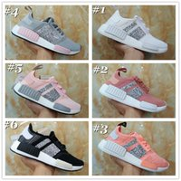 Wholesale Customized Shoes - New 2017 NMD Runner R1 Primeknit Crystal Customize Black White Grey Pink Women Men Best Running Shoes Originals nmds Sport Shoes