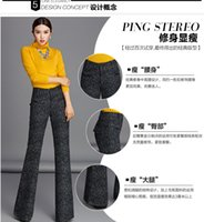 Straight speaker pants - New arrival new winter wool woolen trousers micro speaker casual female long pants thickening wide leg pants