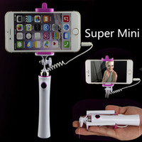 Wholesale Iphone Pen Holder - Super mini Pen size selfie stick Extendable Selfie-stick Monopod and holder without power with retail package for iphone samsung HTC huawe