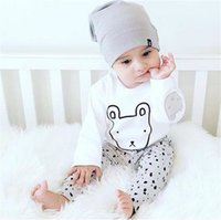 Wholesale Green Baby Girl Rompers - Wholesale ins Boys Baby Rompers Girls Baby Onesies Cotton Rabbit Cartoon Newborn Jumpsuits Spring Autumn Long Sleeve Jumpers Toddler Clothes