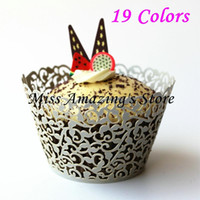 Atacado- 50pcs Laser Cut Silver Cupcake Wrappers Decor Wedding Birthday Party Baby Shower Wrap