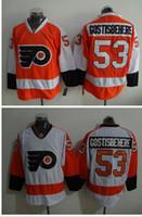 ingrosso indossare jersey da hockey-Volantini # 53 Shayne Gostisbehere Hockey Jersey I più venduti Hockey Jersey Hockey Jersey ricamato Uomini Hockey uniforme Hockey a buon mercato Indossa