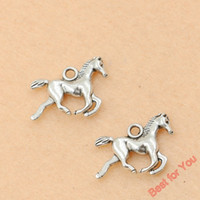Wholesale Craft Horses - 80pcs Antique Silver Plated Running Horse Charms Pendants For Jewelry Making Diy Craft Charm Handmade 15x20mm jewelry making
