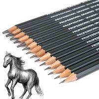 lápis de desenho 4b venda por atacado-Atacado-14pcs Esboço e Desenho Pencil Set 12B 10B 8B 7B 6B 5B 4B 3B 2B 1B HB 2H 4H 6H Nova Chegada