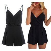 Wholesale Led Jumpsuits - Leisure Fashion Camisole V Lead Sexy Shorts Black Clothes Clubwear Jumpsuits Rompers For Women V-neck Blue Plus Size Bodysuit