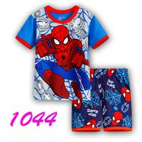 Wholesale spiderman baby suit - 2016 Boy's clothing Set fashion cartoon Spiderman Children pajamas suit sleepwear 100%cotton baby set cartoon t-shirts+shorts