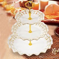 Wholesale Wedding Cupcake Mixed - fruit cake stand flower 3-Tier Wedding Cake Plate Center Stand Handle Rod Cake Stand Handles mixed color O#A07