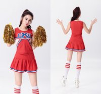Wholesale Hot Sleeveless Clothes For Women - Hot Baseball Football Cheerleading Glee Costume Aerobics Clothing Uniforms for Performances Sleeveless Dress Size S M L XL XXL WY6939