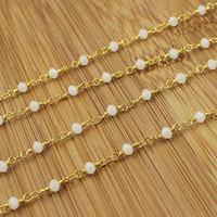 chapelet à perles blanches achat en gros de-Gros Pierre de Lune Calcédoine Chapelet Style Perlé Chaîne-4x3mm Rondelles à Facettes Blanc Perles fil enveloppé Chaîne En Or Perlé C4644
