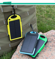 Wholesale Water Proof Solar - water, dust,shocking proof universal solar charger power bank 5000mAh for smart phones iphone, sunsumg, tablets with dual USB for outdoors c