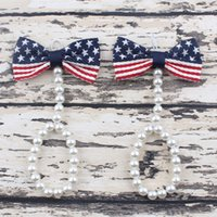 Wholesale Toddler Anklets - Fashion new Cute Pearl American flag bows Barefoot Infant Toddler Foot Flower Beach Sandals Baby Girls Anklet Chain baby Jewelry A8764